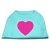 Mirage Pet Products Pink Swiss Dot Heart Screen Print Shirt Aqua XS (8)