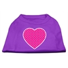 Mirage Pet Products Pink Swiss Dot Heart Screen Print Shirt Purple XS (8)