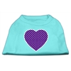 Mirage Pet Products Purple Swiss Dot Heart Screen Print Shirt Aqua XS (8)