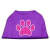 Mirage Pet Products Pink Swiss Dot Paw Screen Print Shirt Purple XS (8)