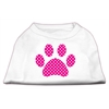 Mirage Pet Products Pink Swiss Dot Paw Screen Print Shirt White S (10)