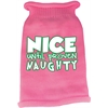 Mirage Pet Products Nice until proven Naughty Screen Print Knit Pet Sweater Light Pink XXL (18)