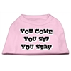 Mirage Pet Products You Come, You Sit, You Stay Screen Print Shirts Light Pink XS (8)