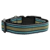 Mirage Pet Products Preppy Stripes Nylon Ribbon Collars Light Blue/Khaki Large