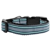Mirage Pet Products Preppy Stripes Nylon Ribbon Collars Light Blue/White Medium