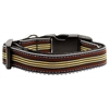 Mirage Pet Products Preppy Stripes Nylon Ribbon Collars Brown/Khaki Medium