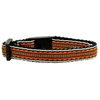 Mirage Pet Products Preppy Stripes Nylon Ribbon Collars Orange/Khaki Cat Safety