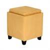 Rainbow Microfiber Storage Ottoman in Yellow Microfiber