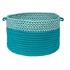 "Houndstooth Dipped Basket - Turquoise 18""x12"""