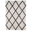 5' x 8' Ivory Silky Shag Rug With Gray Diamond