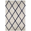 5' x 8' Ivory Silky Shag Rug With Navy Diamond
