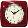 "Infinity Instruments 9"" Square Retro Clock, Red"