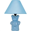 "Ore International 13""H Ceramic Teddy Bear Table Lamp - Light Blue"