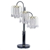 "Ore International 34""H Black Finish Table Lamp With Crystal-Inspired Shades"