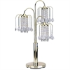 "Ore International 34""H Polished Brass Table Lamp With Crystal-Inspired Shades"