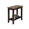 "24"" Traditional Dark Espresso With Marble Print Style Side/End Table"