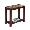 "24"" Traditional Dark Cherry With Marble Print Style Side/End Table"