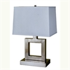 "Ore International 22"" Square Table Lamp - Satin Nickel"