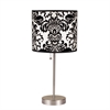"19""H Black/White Print Steel Table Lamp"