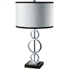 Ore International 3 Ring Metal Table Lamp (White) W/ Convenient Outlet
