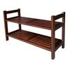 "15.5"" Two Tiers Stackable Shoe Rack - Mahogany"