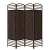 Espresso Brown Paper Straw Weave 4 Panel Screen On Legs, Handcrafted