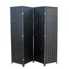 "Ore International Black Paper Straw Weave 4 Panel Screen On 2""H Wooden Legs, Handcrafted"