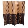 "Brown/Espresso Brown Paper Straw Weave 4 Panel Screen On 2""H Legs, Handcrafted"