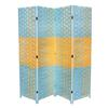 "Ore International Beach Blue/Natural Paper Straw Weave 4 Panel Screen On 2""H Legs, Handcrafted"