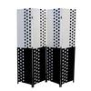"Black/White Paper Straw Weave 4 Panel Screen On 2""H Legs, Handcrafted"