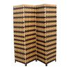 "Ore International Brown / Natural Brown Paper Straw Weave 4 Panel Screen On 2""H Legs, Handcrafted"