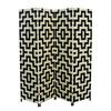 "Black/Natural Paper Straw Weave 4 Panel Screen On 2""H Wooden Legs, Handcrafted."