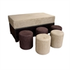 Brown Shades Storage Ottoman (With 5 Ottomans)