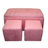 Ore International Pink Microfiber Storage Bench (With 2 Matching Ottomans)