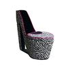 Ore International Black Zebra Prints High Heel Storage Chair