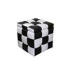 "16""H Checkered Block Storage Ottoman +1 Seating"