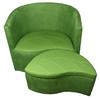 "Ore International 29""H Green Suede Accent Chair W/ Storage Ottoman"