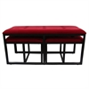 "Ore International 20.5""H Red Suede Tufted Metal Bench W/ 2 Seatings"