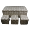 "Ore International 17.75""H Geometric Nail Button Bench W/ 3 Seatings"
