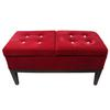 "19""H Red Tufted Dual Lift Storage Bench"
