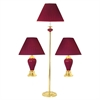Ceramic/Brass Table And Floor Lamp Set of 3 In Burgundy