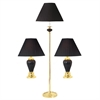 Ceramic/Brass Table And Floor Lamp Set of 3 In Black