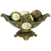 "Ore International 8""H Handcrafted Bronze Decorative Bowl With Decorative Spheres"