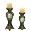 "Ore International 14""/11""H Handcrafted Bronze Decorative Candle Holder, Set of 2"