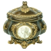 """Ore International 9""""H  Handcrafted Decorative Jewelry Box With Gold Roman Leaves"""