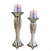 "Ore International 12""/14"" Traditional Royal Silver Metalic Candle Holder Set, Set of 2"