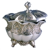 "Ore International 8""H Traditional Royal Silver Metalic Decorative Jewelry Box"
