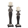 "Ore International 14""/18""H Sobek Dark Candleholder Set, Set of 2"