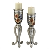 "Ore International 14/16"" Cherry Blossoms Collection Candleholder Set, Set of 2"