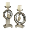 "Ore International 12/14""H Chrysanthemum Candleholder Set, Set of 2"
